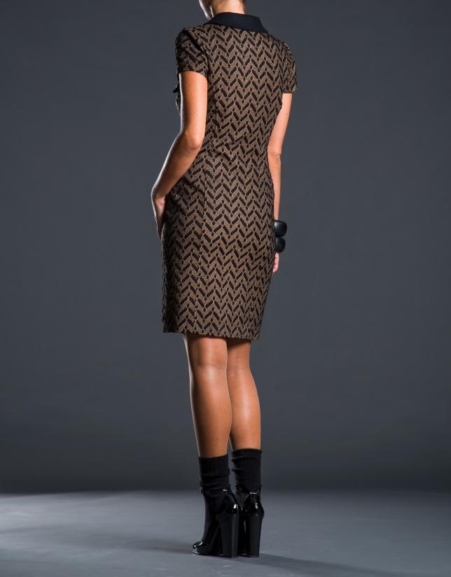 Geometric print shirtwaist dress