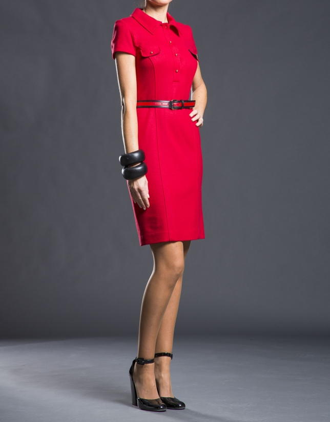 Red fitted shirt dress