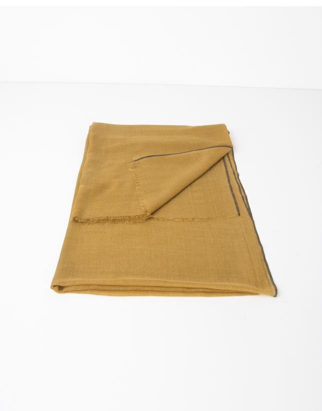 Plain mustard wool and silk scarf