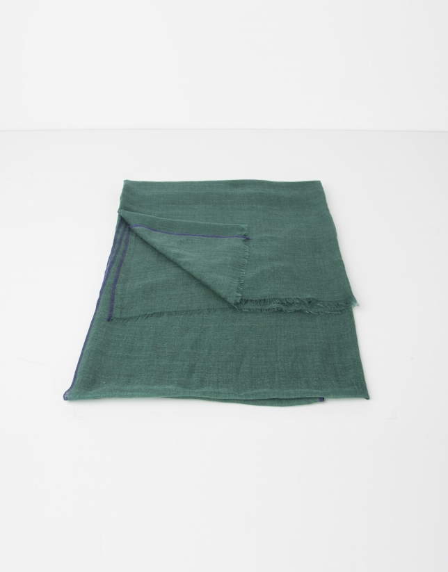 Plain green wool and silk scarf
