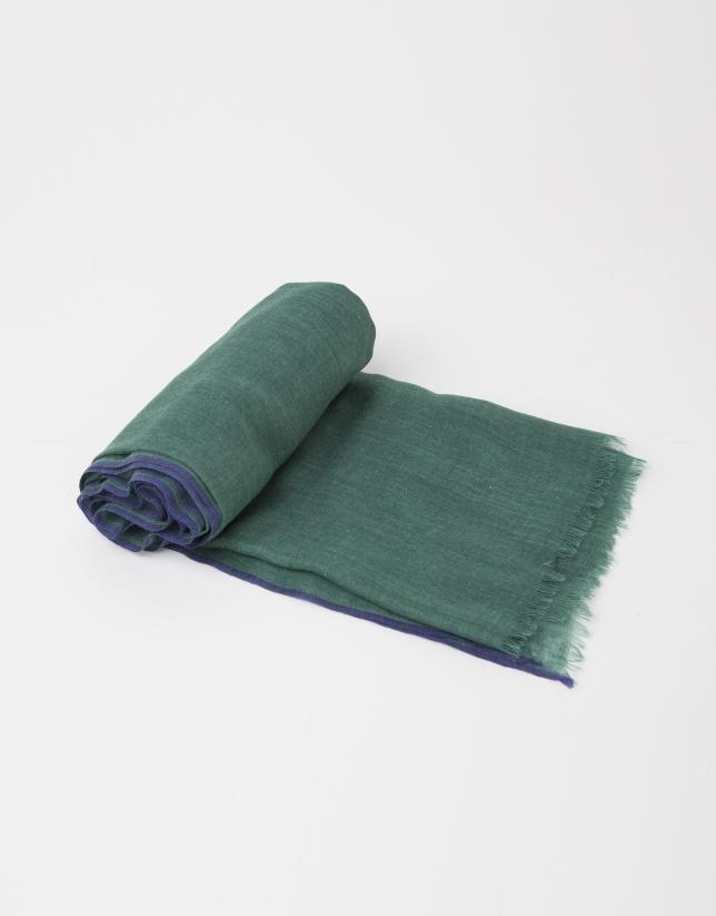 Foulard uni en laine et soie vert