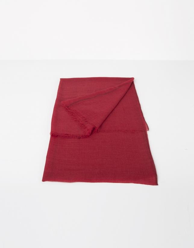 Foulard liso lana y seda rojo