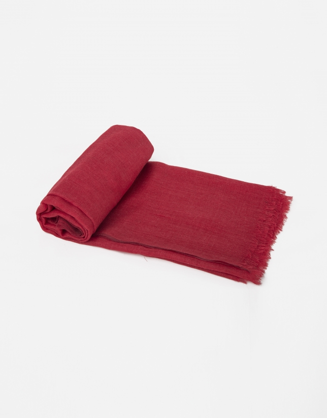 Plain red wool and silk scarf