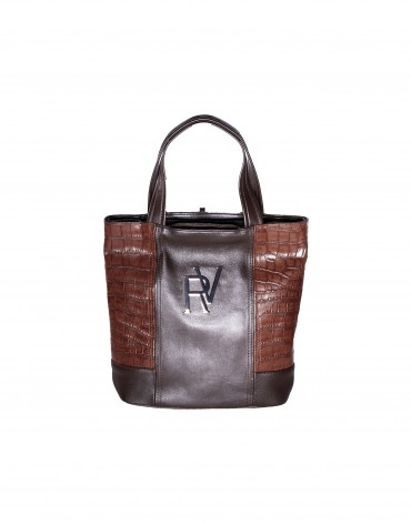 Brown lateral combined shopping bag.
