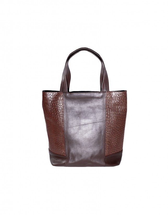 Brown combined shopping bag
