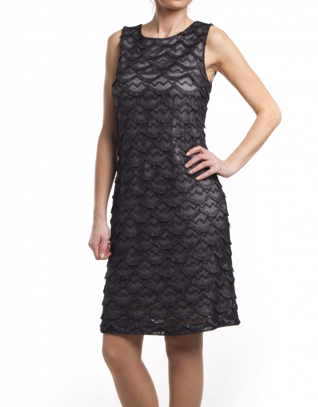 Dress with overlapping sheer pattern
