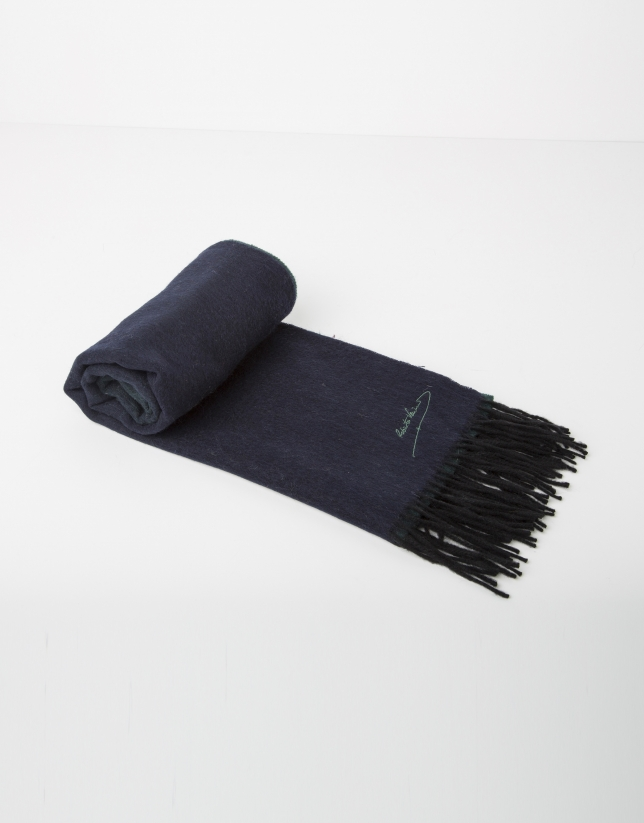 Foulard en laine bleu et vert