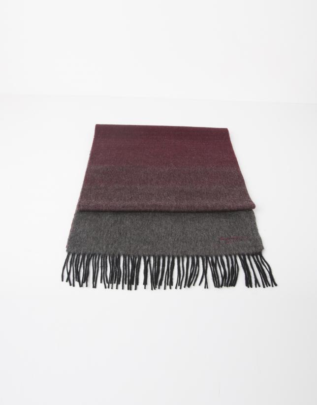 Foulard en laine rouge et gris