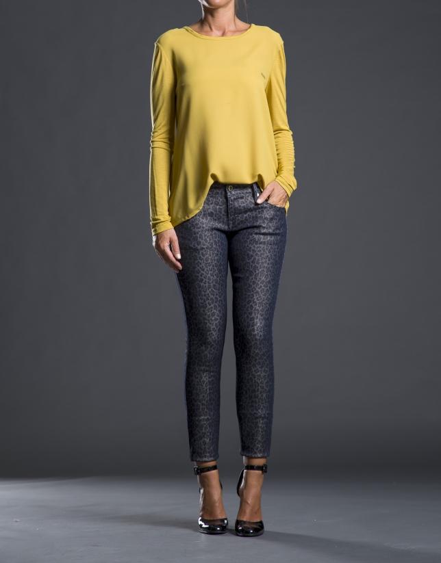 Tee-shirt crêpe tricot moutarde