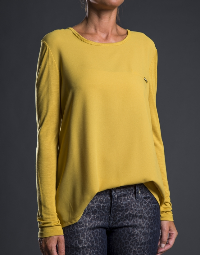 Tee-shirt crêpe tricot moutarde