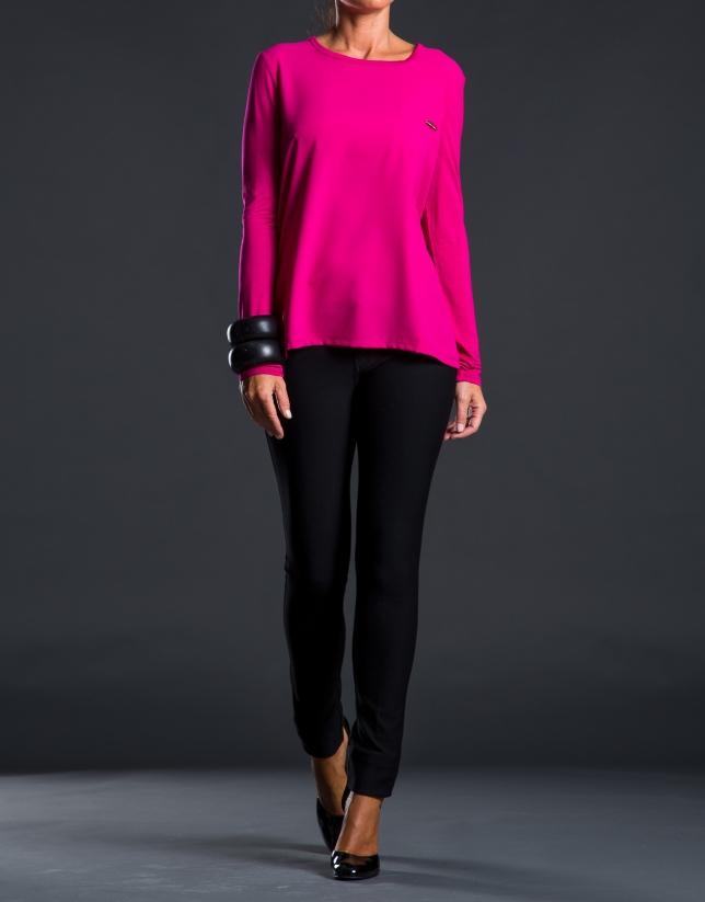 Fuchsia crepe and knit t-shirt