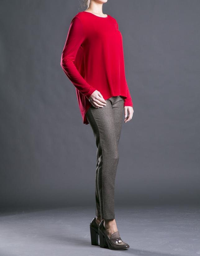 Tee-shirt rouge à encolure ronde