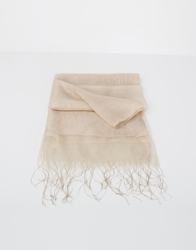 Plain beige silk scarf