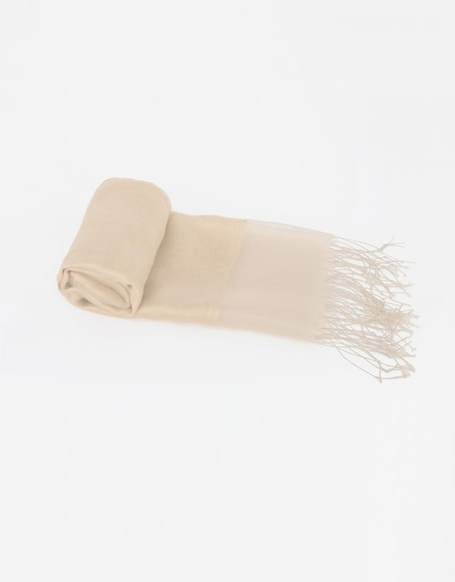 Foulard uni en soie beige