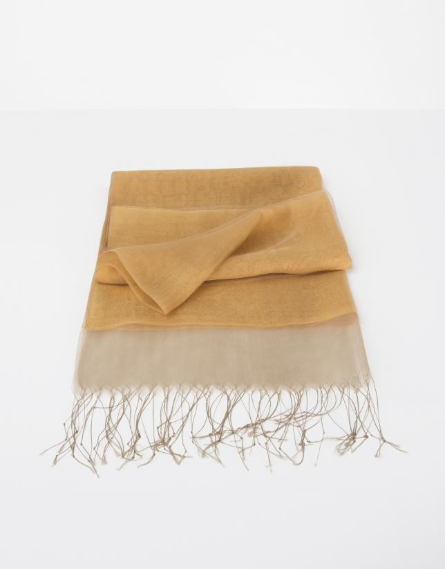 Plain mustard silk scarf