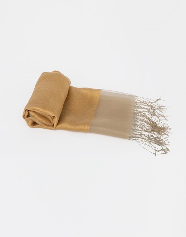 Foulard uni en soie couleur moutarde