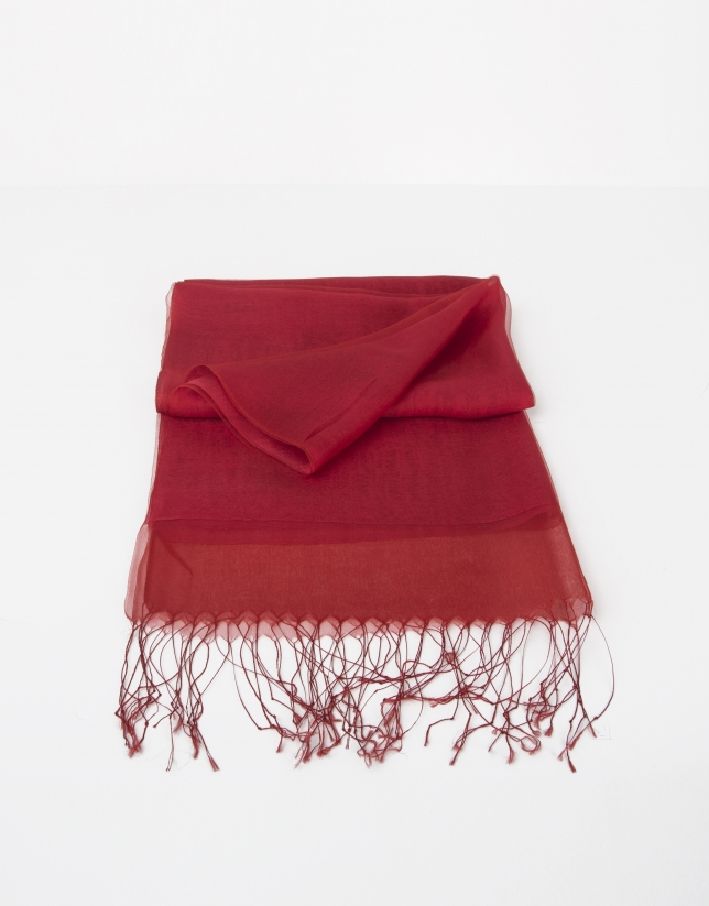 Plain red silk scarf