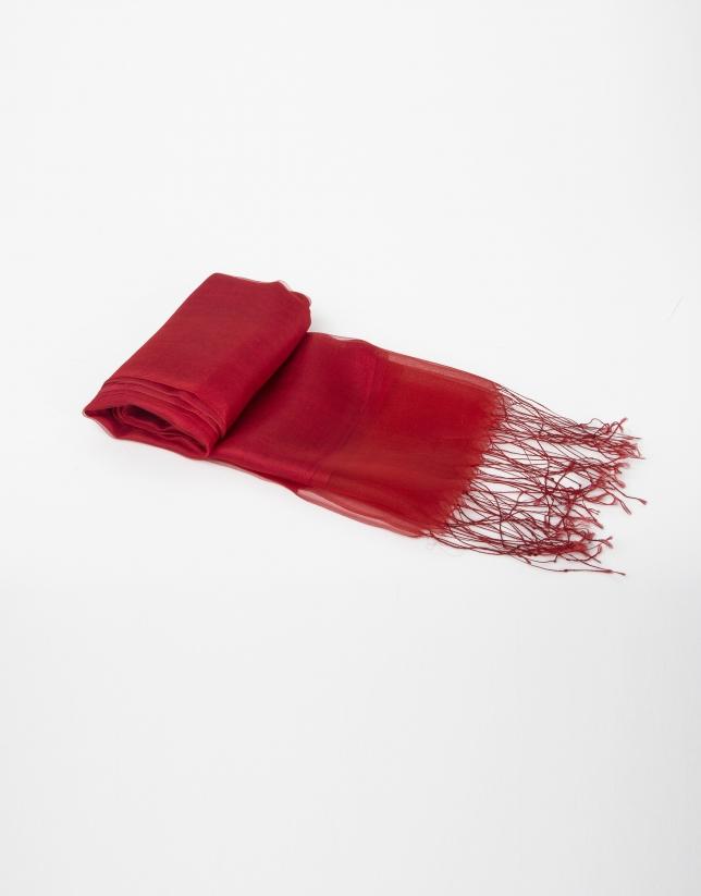 Foulard uni en soie rouge