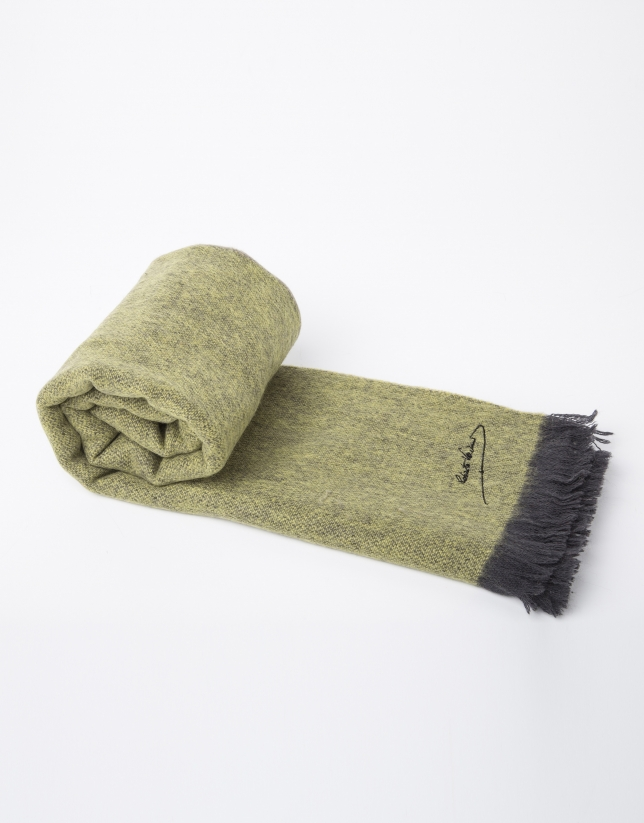 Plain green and beige wool scarf