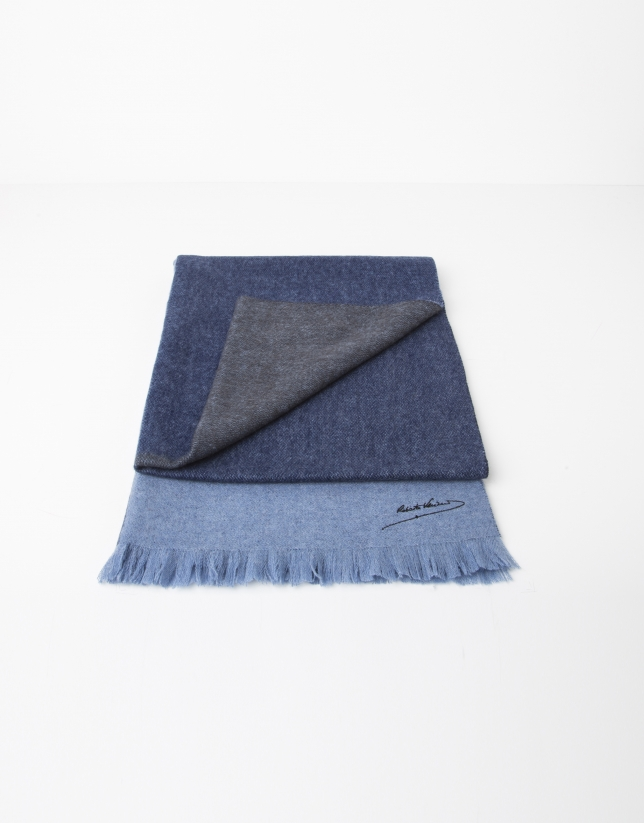 Plain light and dark blue wool scarf