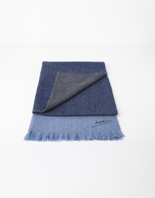 Plain light and dark blue wool scarf