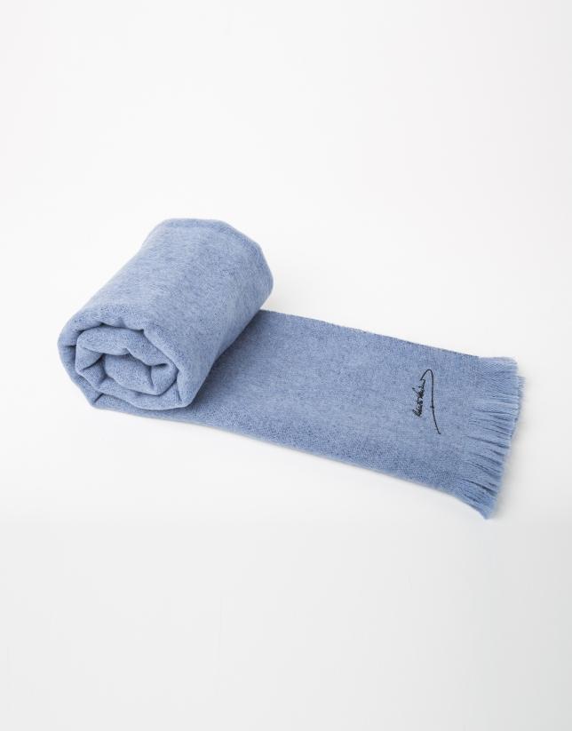 Foulard lana liso azul claro y marino