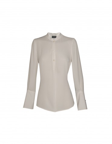 Shinny ivory blouse with Mao collar