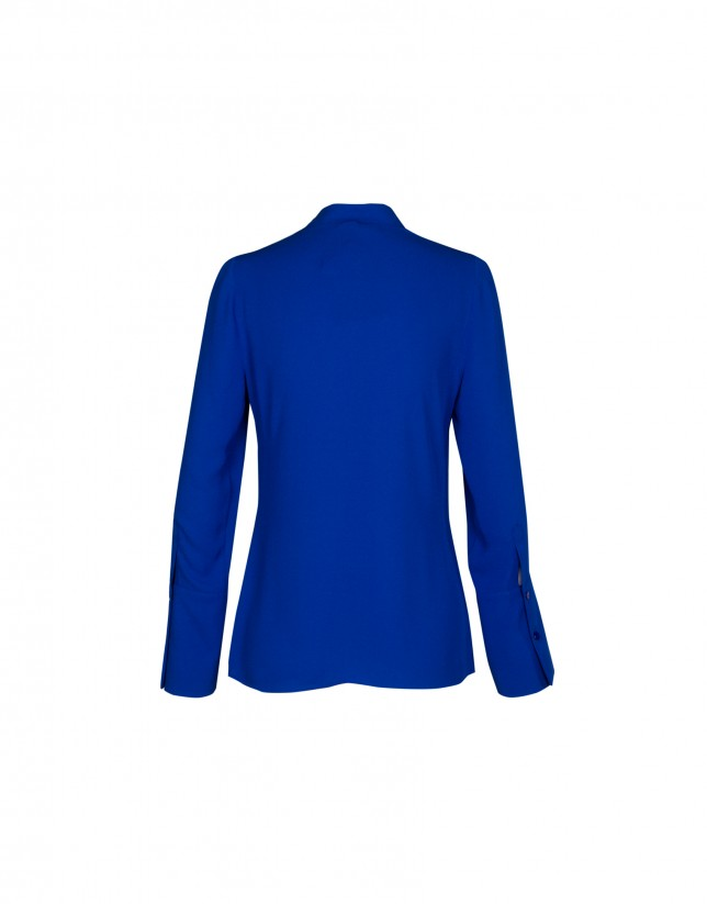 Shinny blue blouse with mao collar