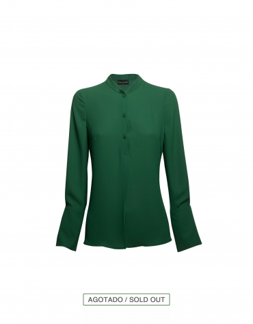 Shiny green blouse with mao collar