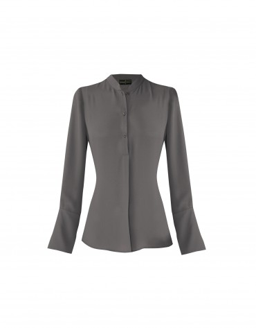 Shinny grey blouse with Mao collar.
