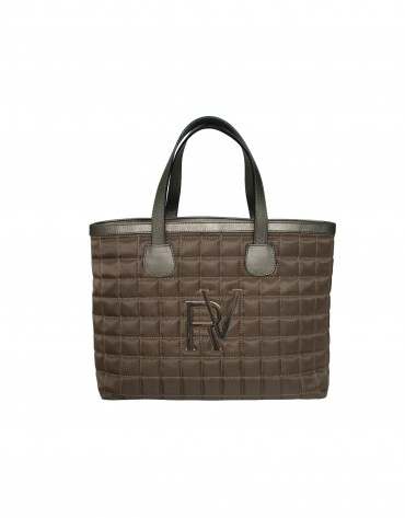 Brown shopping quilted bag