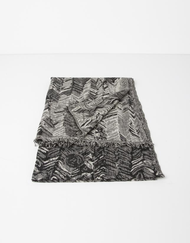 Foulard en laine imprimé géométrique