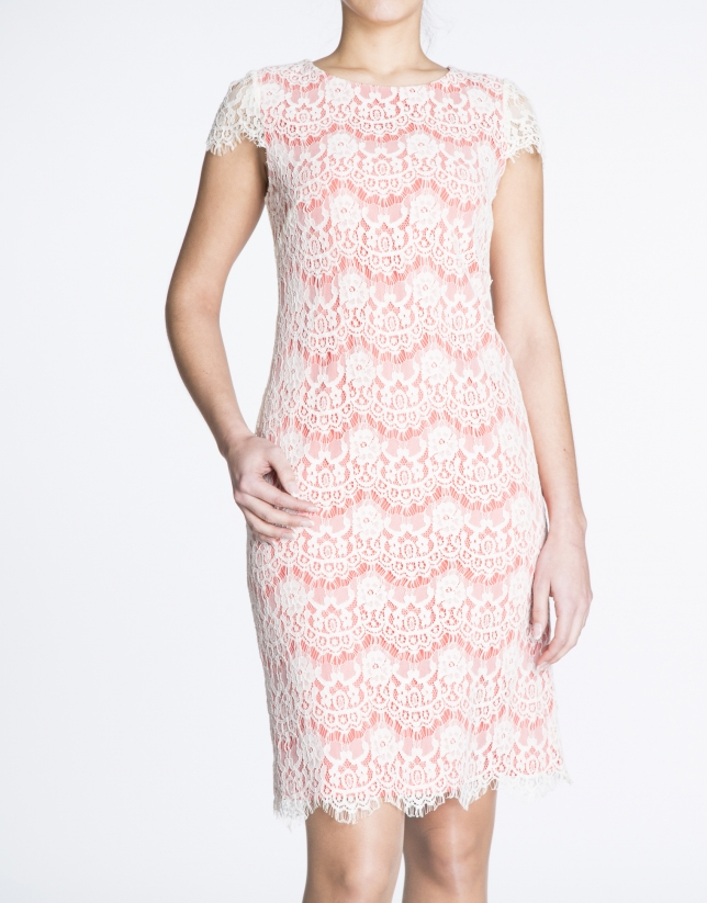 White lace over geranium red fabric dress