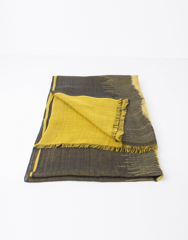 Yellow and grey silk and wool pashmina