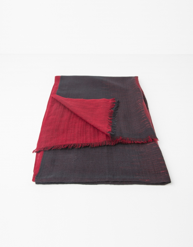 Red and grey silk and wool pashmina