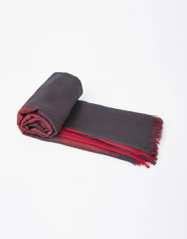 Pashmina en soie et laine rouge et grise