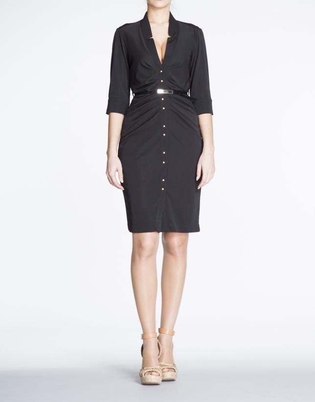 Black fitted knit shirtwaist dress