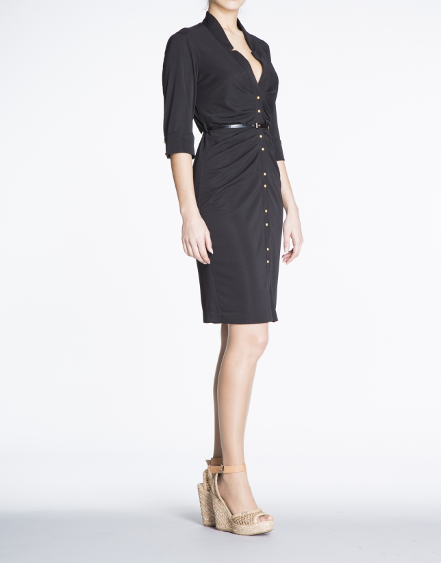 Black fitted knit shirtwaist dress