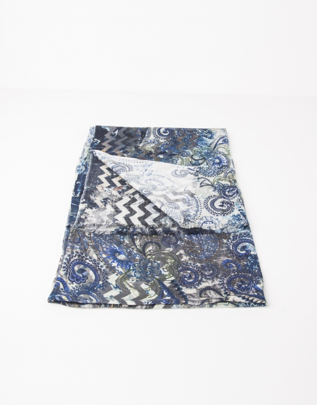 Print wool and silk scarf