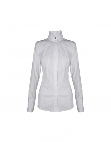 White shirt high collar