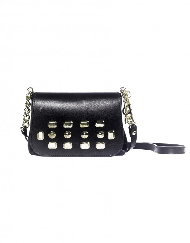 Black shoulder bag gold studs