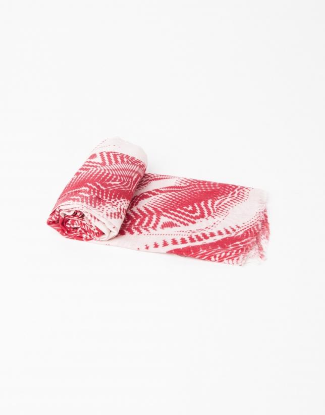 Foulard en laine, soie et cachemire rouge