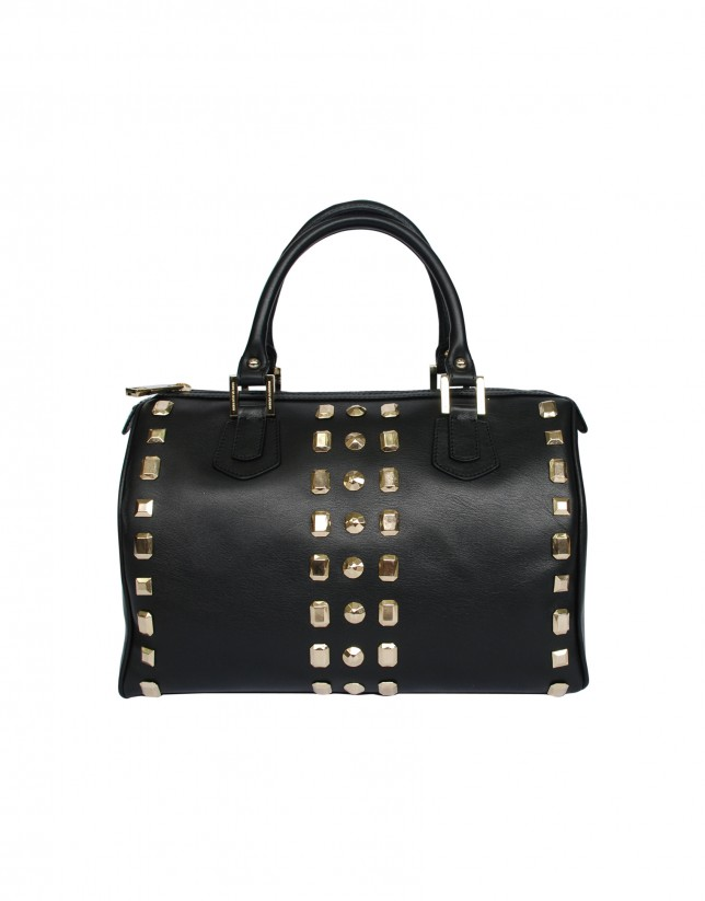Black bowling bag gold studs