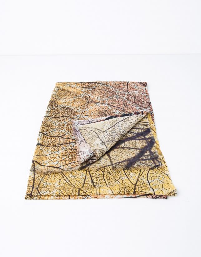 Foulard en laine, soie et cachemire à feuilles