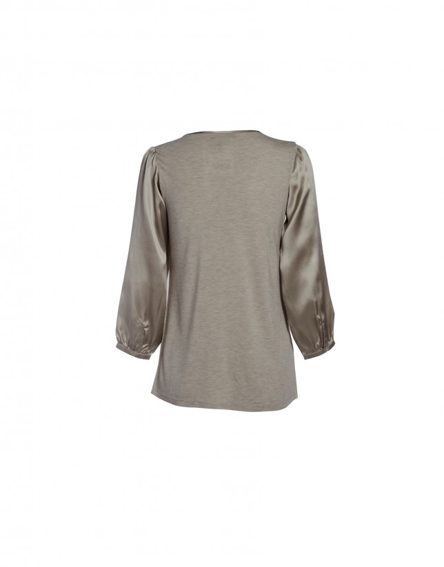 Tan round neck blouse