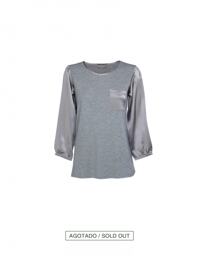 Grey round neck blouse