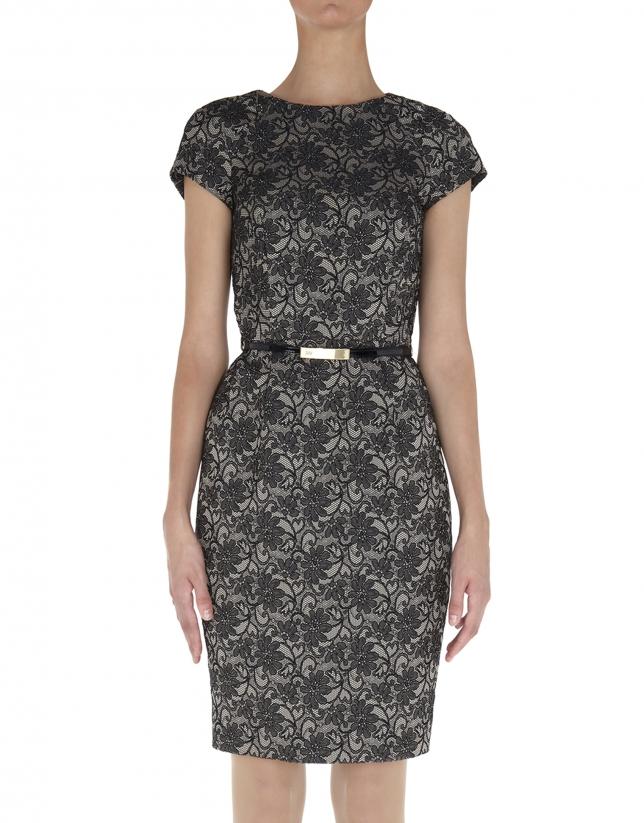 Vestido recto manga corta tejido cloqué flores negro