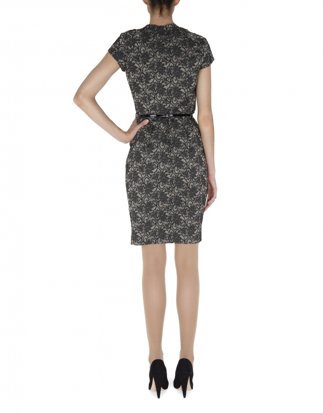 Black straight short sleeved cloqué dress with floral print