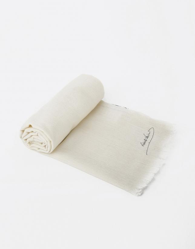 Foulard uni en laine écru