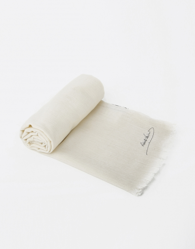 Plain ivory wool scarf